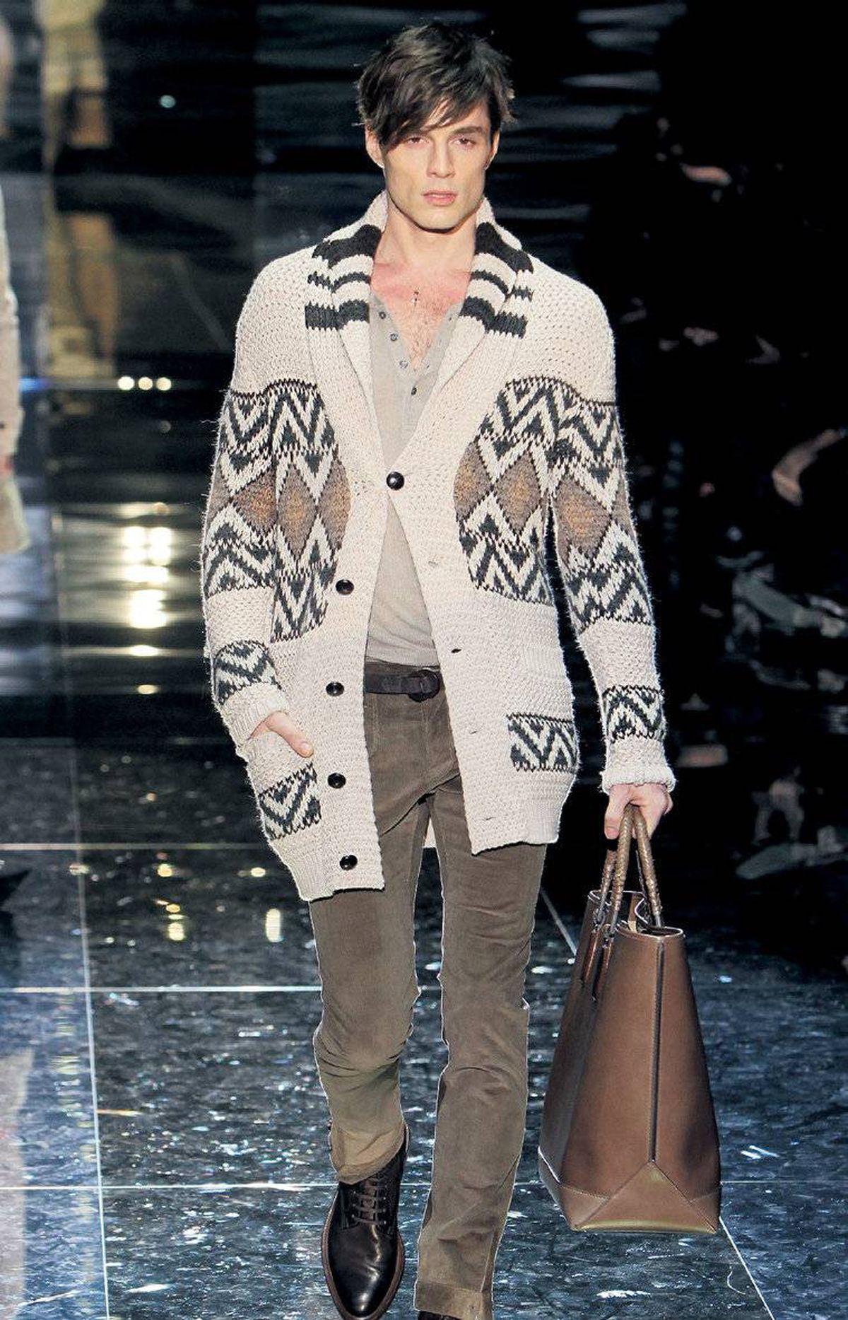 Shawl-collar cardigan on the runway