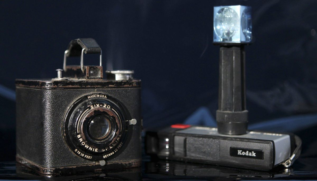 Two of Eastman Kodak's most successful cameras, a Brownie Special Six-20 (L), circa 1938-1942, which sold for $4, and the Pocket Instamatic 20 (R), which sold for about $28 in 1972, are shown January 12, 2012 in this studio illustration in Washington. Eastman Kodak Co, which invented the hand-held camera and helped bring the world the first pictures from the moon, has filed for bankruptcy protection, capping a prolonged plunge for one of America's best-known companies.