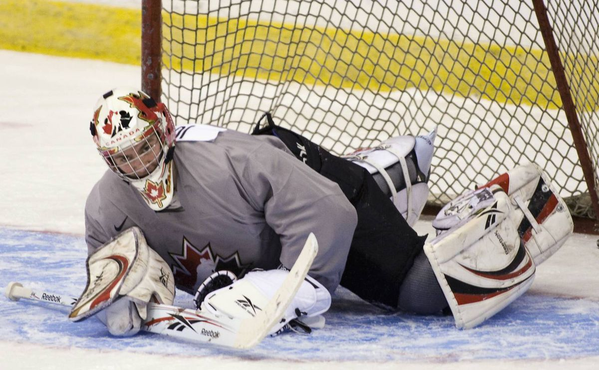 Canadian national junior team goaltender Martin Jones, from the Calgary Hitmen, makes a save during practice December 14, 2009 at the team's selection camp for the World Junior Ice Hockey Championships in Regina.