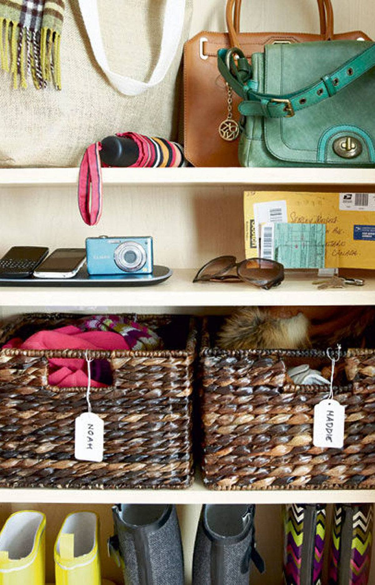 RETHINK YOUR FRONT HALL CLOSET Repurpose a closet into a convenient storage space. Try organizing by person instead of by item. Where to buy: Powermat 3X Mat with Powercube, $79.99 at The Bay (www.thebay.com) Havana utility baskets, $24.32 to $49.92 at Pottery Barn (www.potterybarn.ca)