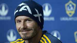 LA Galaxy's David Beckham smiles during a news conference in Montreal May 11, 2012.