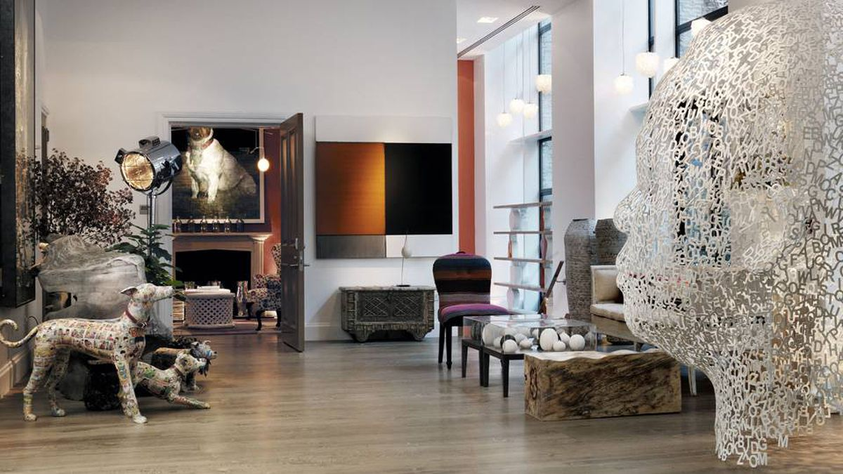 Proprietor Kit Kemp's decor blends eclectic art and comfy couches at New York's boutique Crosby Street Hotel