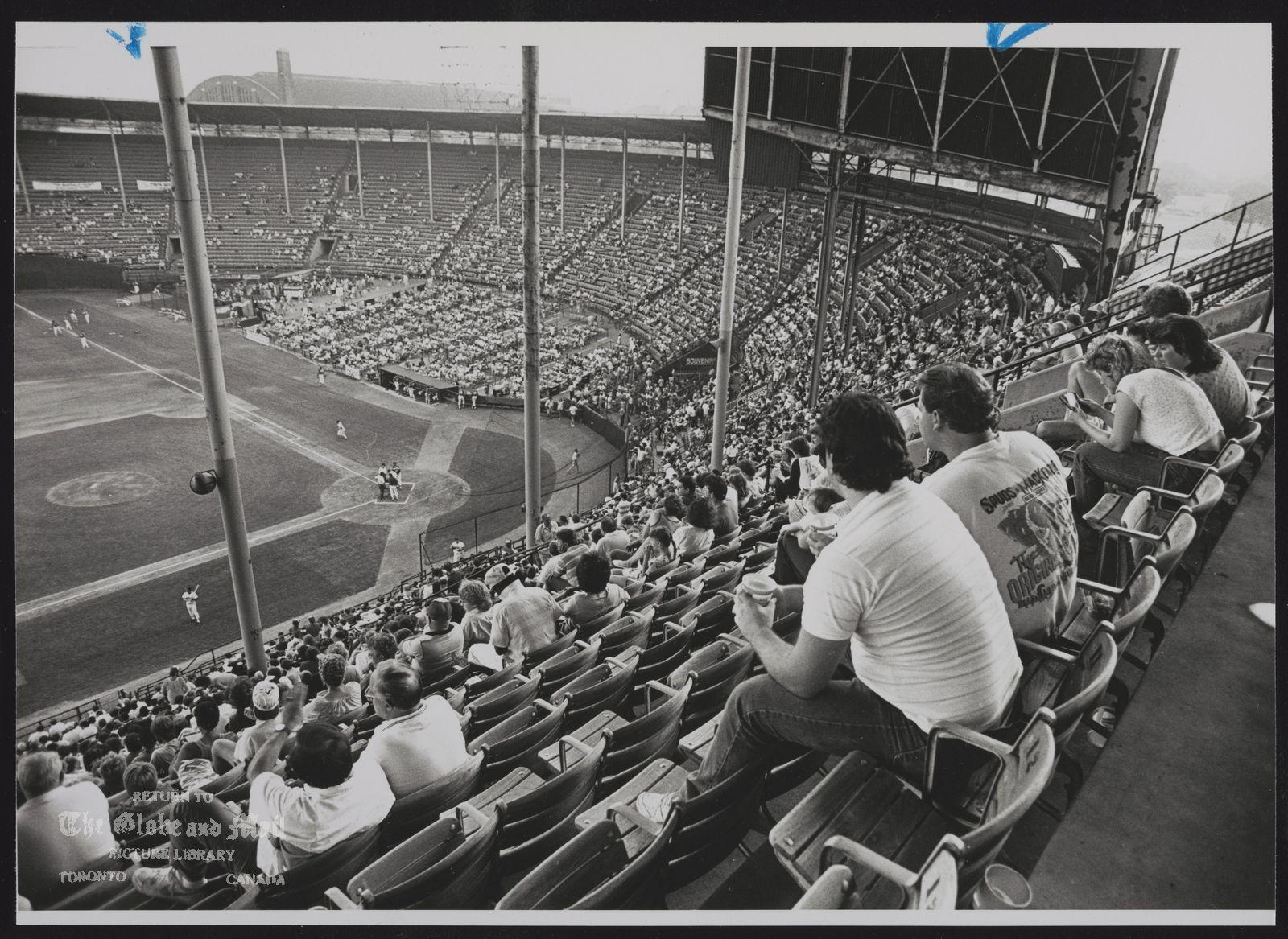 WAR MEMORIAL STADIUM (Buffalo) Buffalo baseball fans gather at War Memorial Stadium (Old Rockpile) yesterday to watch Bisons play Nashville Sounds in American Association game.