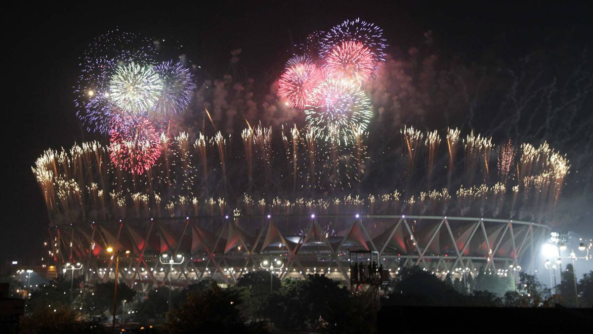 Pyrotechnics go off marking the end of the Commonwealth Games at the Jawaharlal Nehru stadium in New Delhi, India, Thursday.