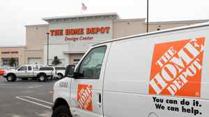 A Home Depot rental van is parked in front of a Home Depot store in Daly City, Calif.