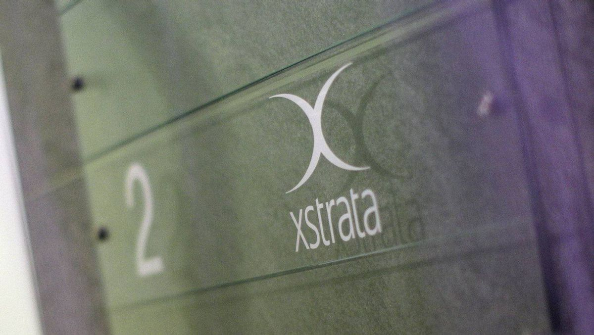 A logo of the Swiss mining company Xstrata is pictured at its headquaters in Zug, February 6, 2012.