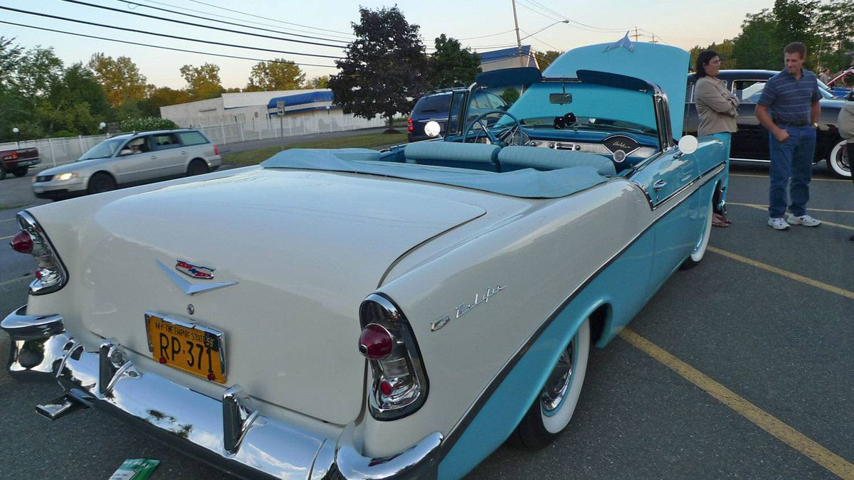 Mid-50s Chevrolet Bel-Air: With its sofa-style seats and swooping chrome trim, the Bel-Air symbolizes the sock-hop/doo-wop era. Like the coupe, the convertible version is an enduring classic.
