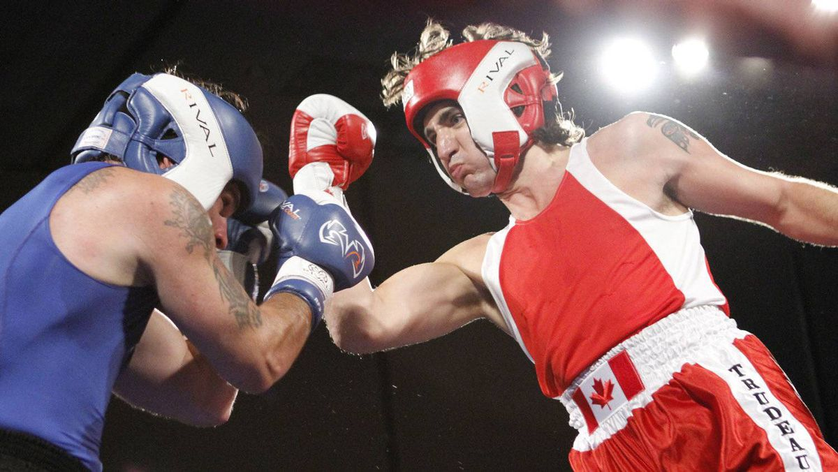 Conservative Senator Patrick Brazeau and Liberal MP Justin Trudeau fight in a charity boxing match for cancer research Saturday, March 31, 2012 in Ottawa. Trudeau stopped Brazeau in the third round.