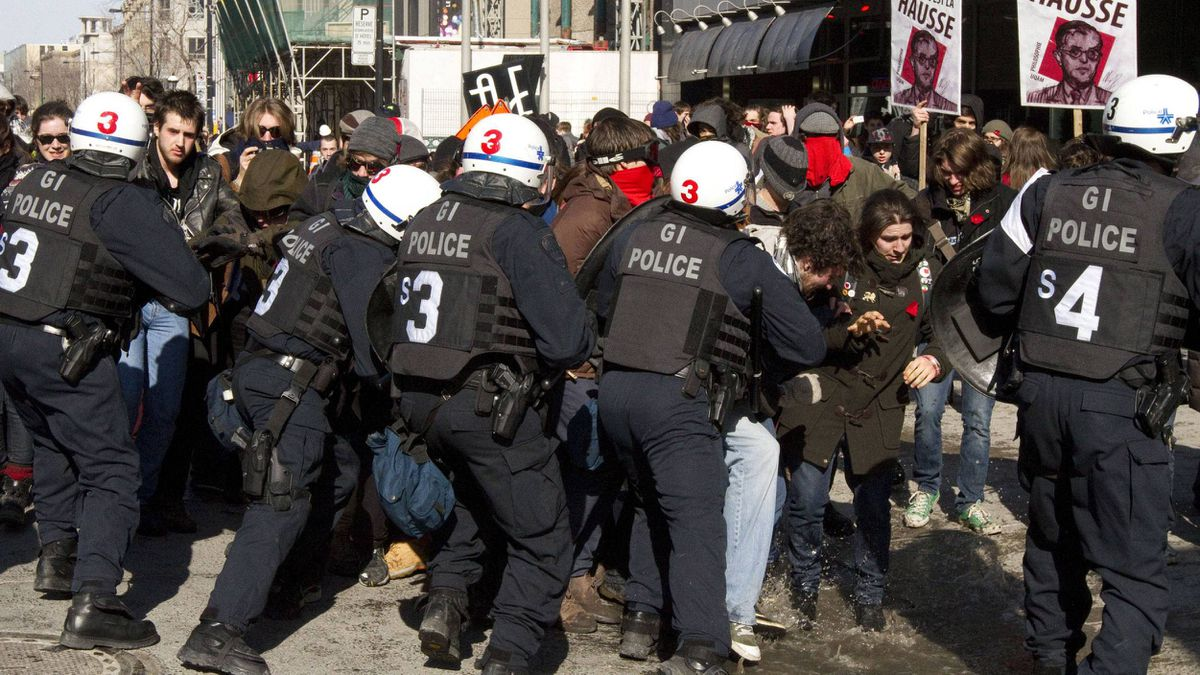 Students protesting rising tuition costs clash with police in Montreal on March 7, 2012.