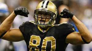 New Orleans Saints tight end Jimmy Graham (80) flexes following a first down against the Detroit Lions during the second half at the Mercedes-Benz Superdome. The Saints face the Titans in one of Sunday's key NFL matchups. John David Mercer-US PRESSWIRE