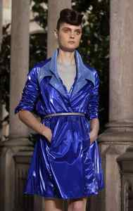 A model wears clothing from the Montse Liarte collection at a Barcelona 080 Fashion show at the University of Barcelona on July 14, 2011.