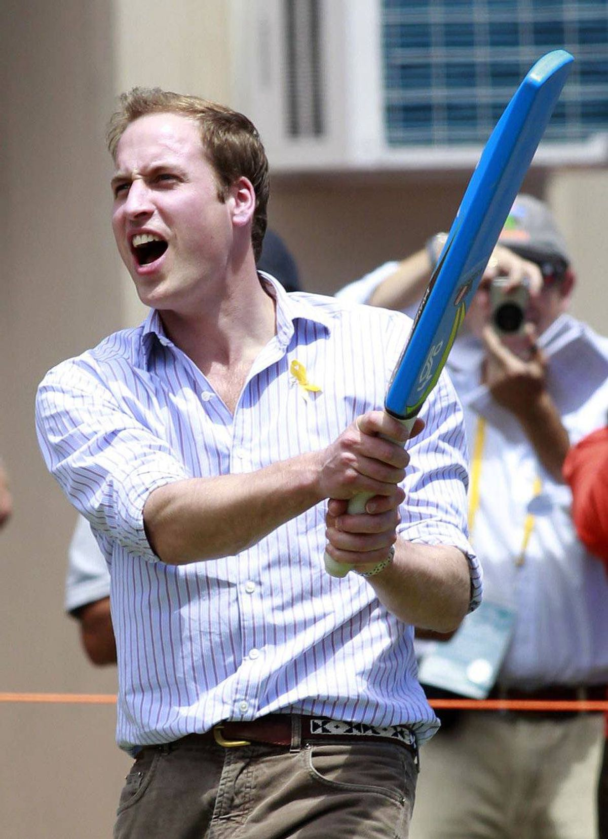 Prince William joins in a cricket game in Flowerdale, Australia, Jan. 21, 2010.