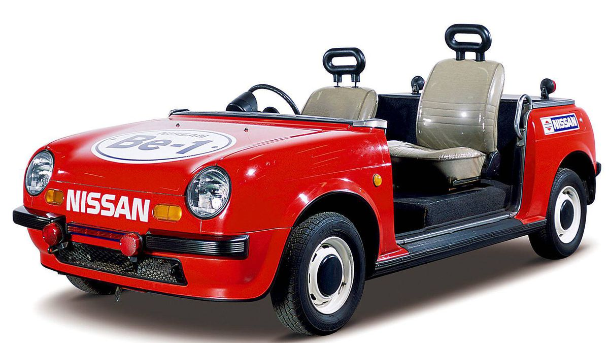 """Based on Nissan's Be-1, this custom-made open car was designed as a relief car for use at the Yokohama Stadium. The passenger seat is slightly raised. After debuting in 1987, it was used for about 2 years. Pitcher, Kazuhiro """"Daimajin"""" Sasaki, who played for the Seattle Mariners (2000-2003), used this car when he was in Yokohama BayStars before he became a major leaguer."""