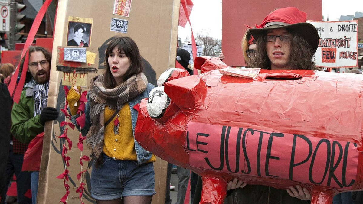 Students demonstrate against tuition hikes Wednesday, April 4, 2012 in Quebec City.
