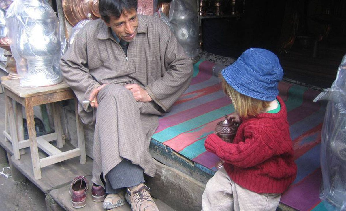 In Srinagar, teaching children how to make a traditional tea.