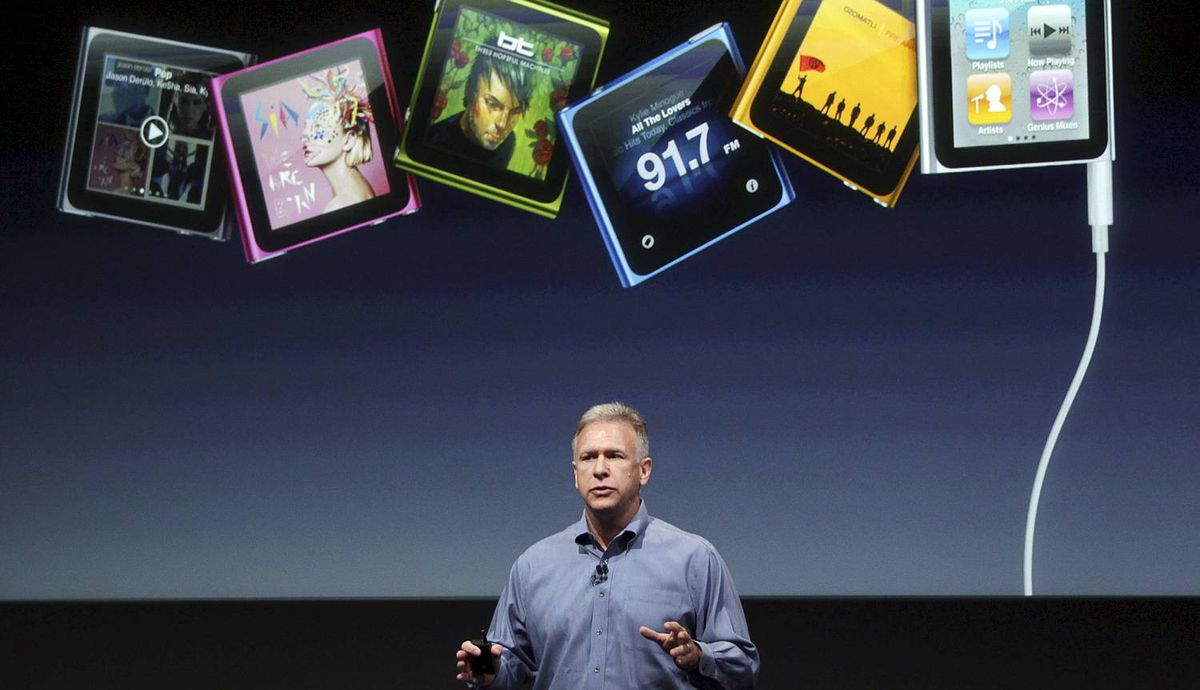 Philip Schiller, Apple's senior vice president of Worldwide Product Marketing, speaks about the iPod Nano at Apple headquarters in Cupertino