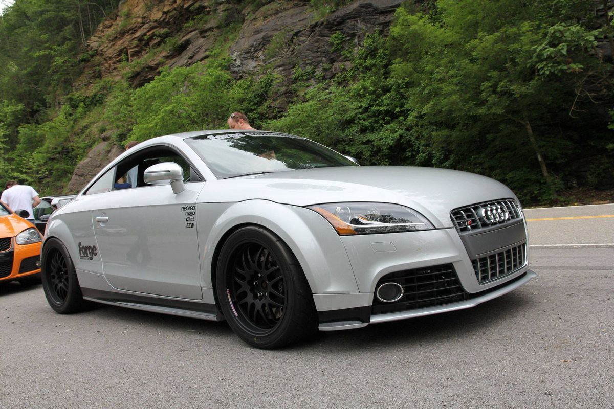 A modified Audi TTS cools down on the Tennessee side of the border after running the Tail of the Dragon,