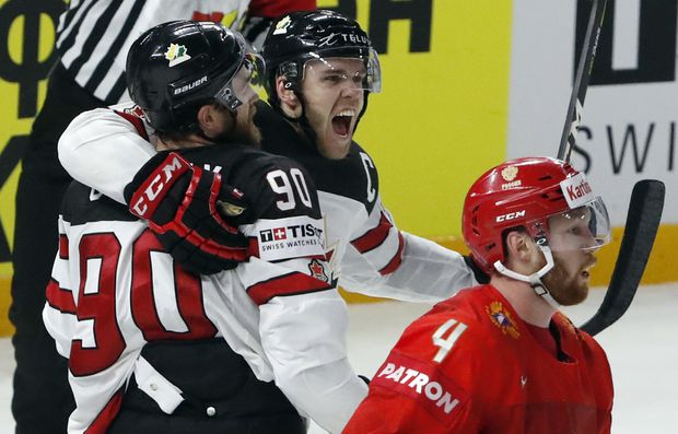 2515d243fe2 Canada beats Russia 5-4 in overtime to advance to world hockey championship  semis