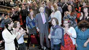 At a private ceremony at the Vancouver East Cultural Centre, family, friends and supporters gave longtime activist and former city councillor Jim Green a standing ovation, Sunday Feb. 26, 2012.