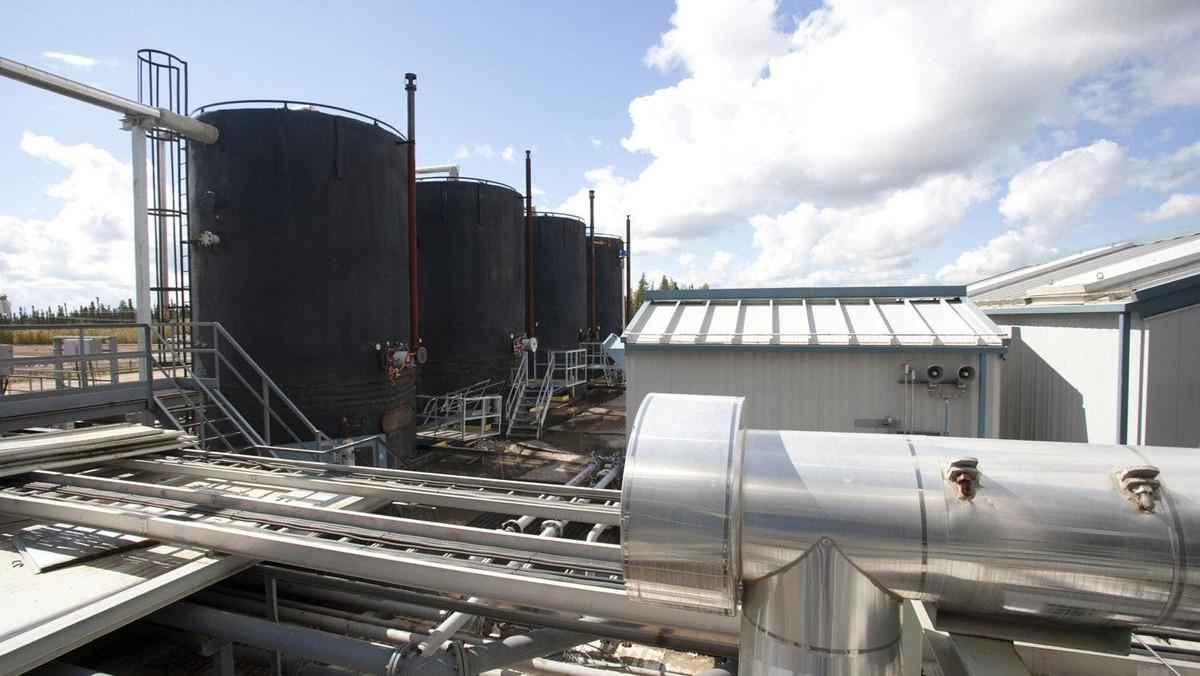 Oil storage tanks at Cenovus's Pelican Lake operation