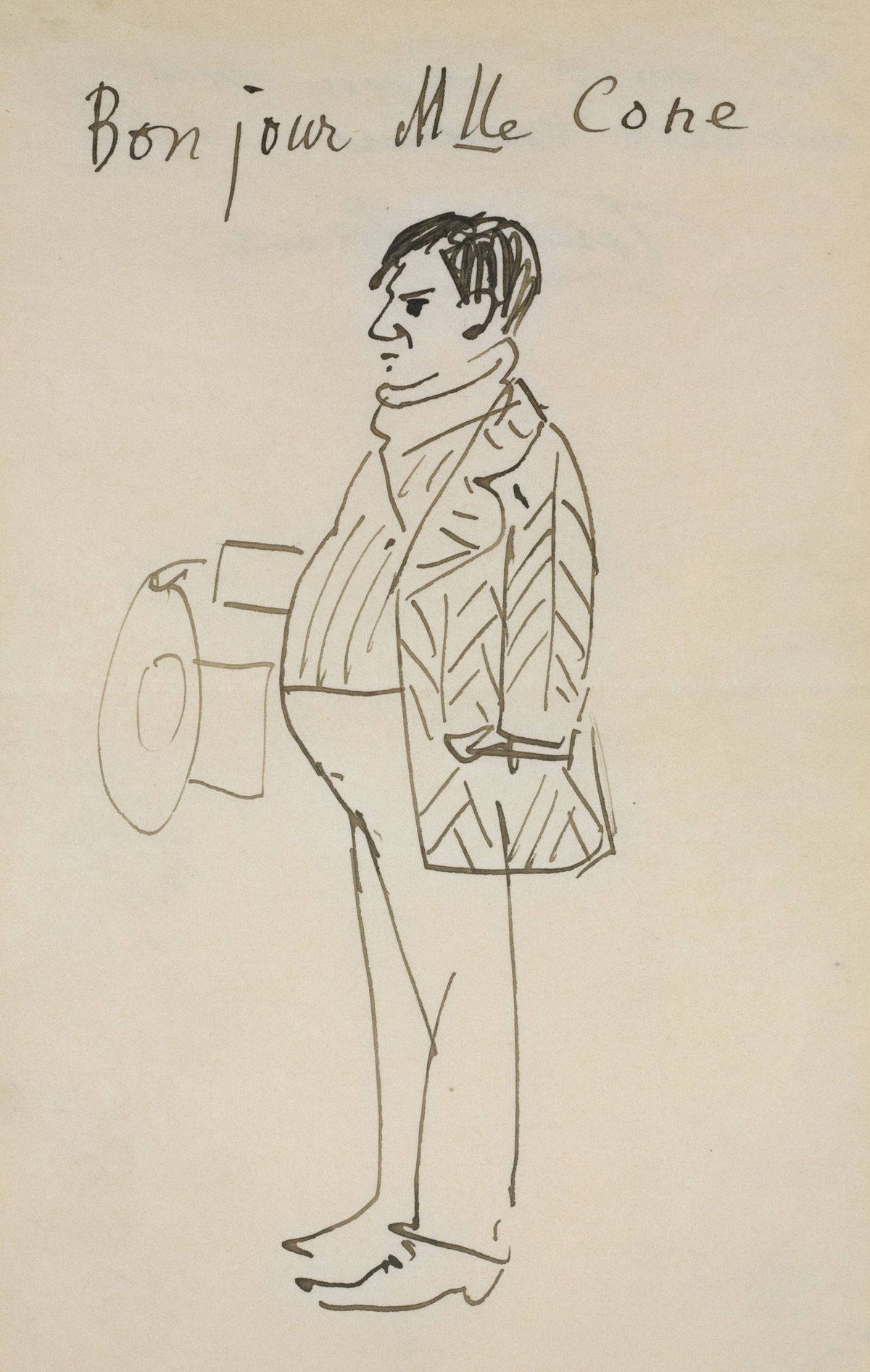 Pablo Picasso, Self-Portrait (Bonjour Mlle Cone), 1907, pen and brown ink, The Baltimore Museum of Art: The Cone Collection, formed by Dr. Claribel Cone and Miss Etta Cone of Baltimore, Maryland, BMA © Picasso Estate / SODRAC, (2012) cone_07
