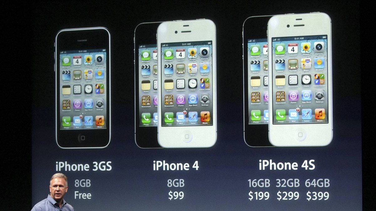 Philip Schiller, Apple's senior vice president of Worldwide Product Marketing, speaks about iPhones, including the iPhone 4S, at Apple headquarters in Cupertino, California October 4, 2011.