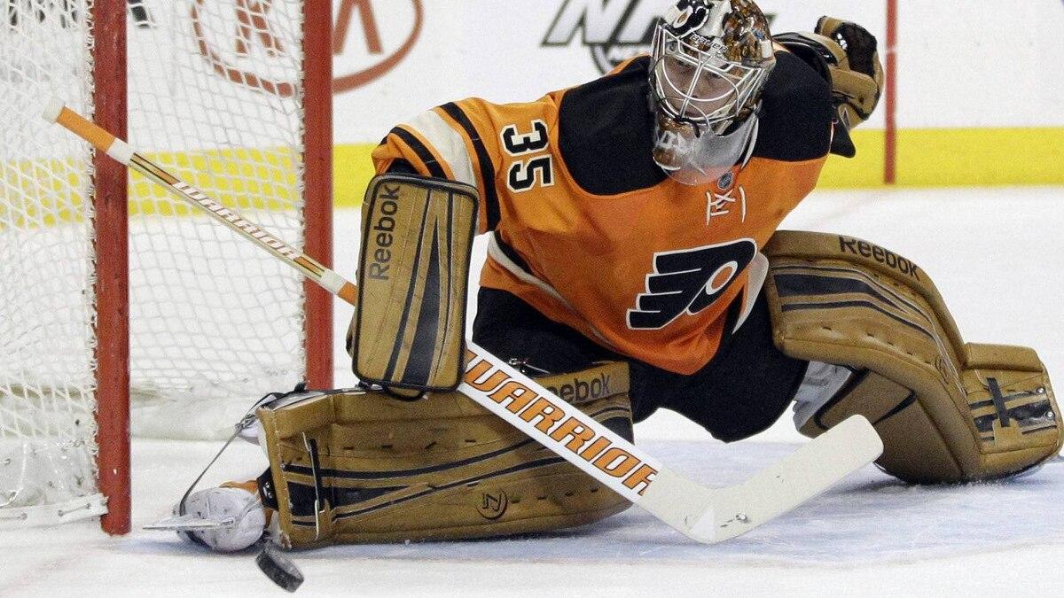 Philadelphia Flyers' Sergei Bobrovsky, of Russia, cannot block a goal by New York Rangers' Ryan Callahan during the first period of an NHL hockey game, Saturday, Feb. 11, 2012, in Philadelphia. (AP Photo/Matt Slocum)