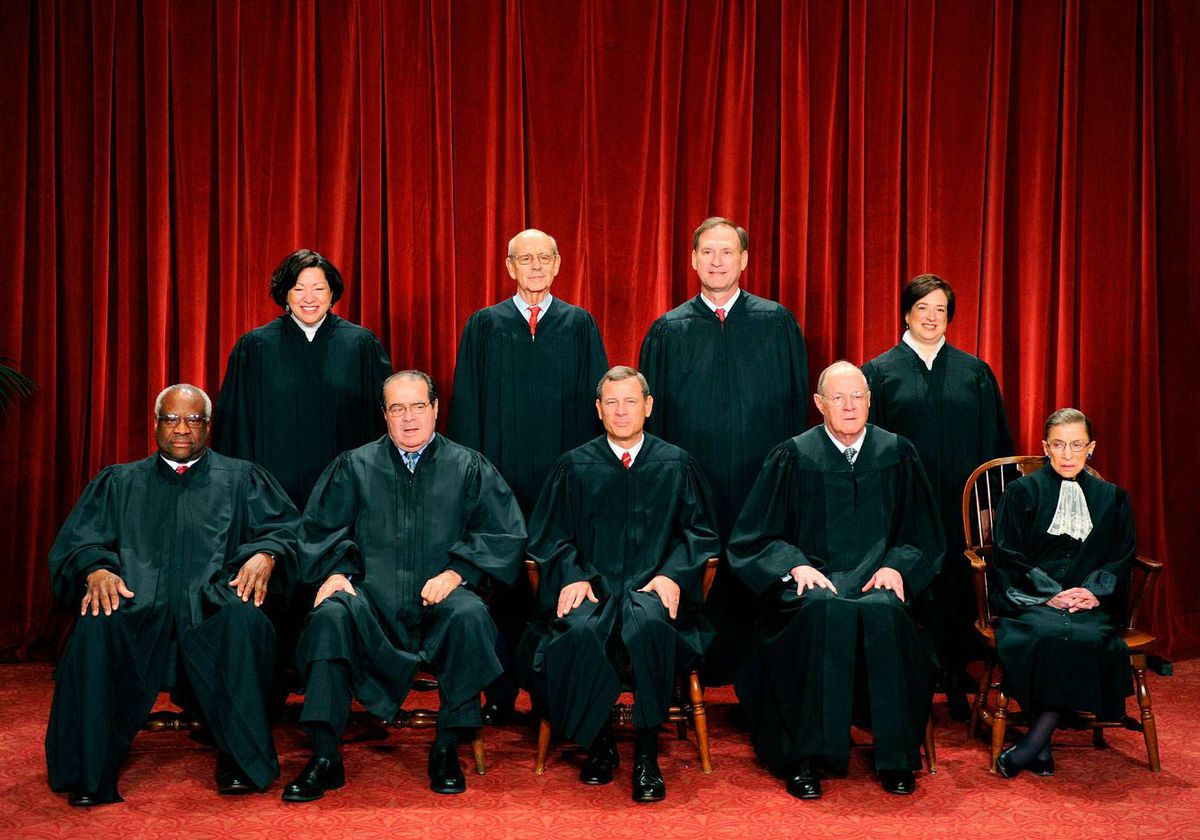 The Justices of the US Supreme Court sit for their official photograph on October 8, 2010 at theSupreme Court in Washington, DC.