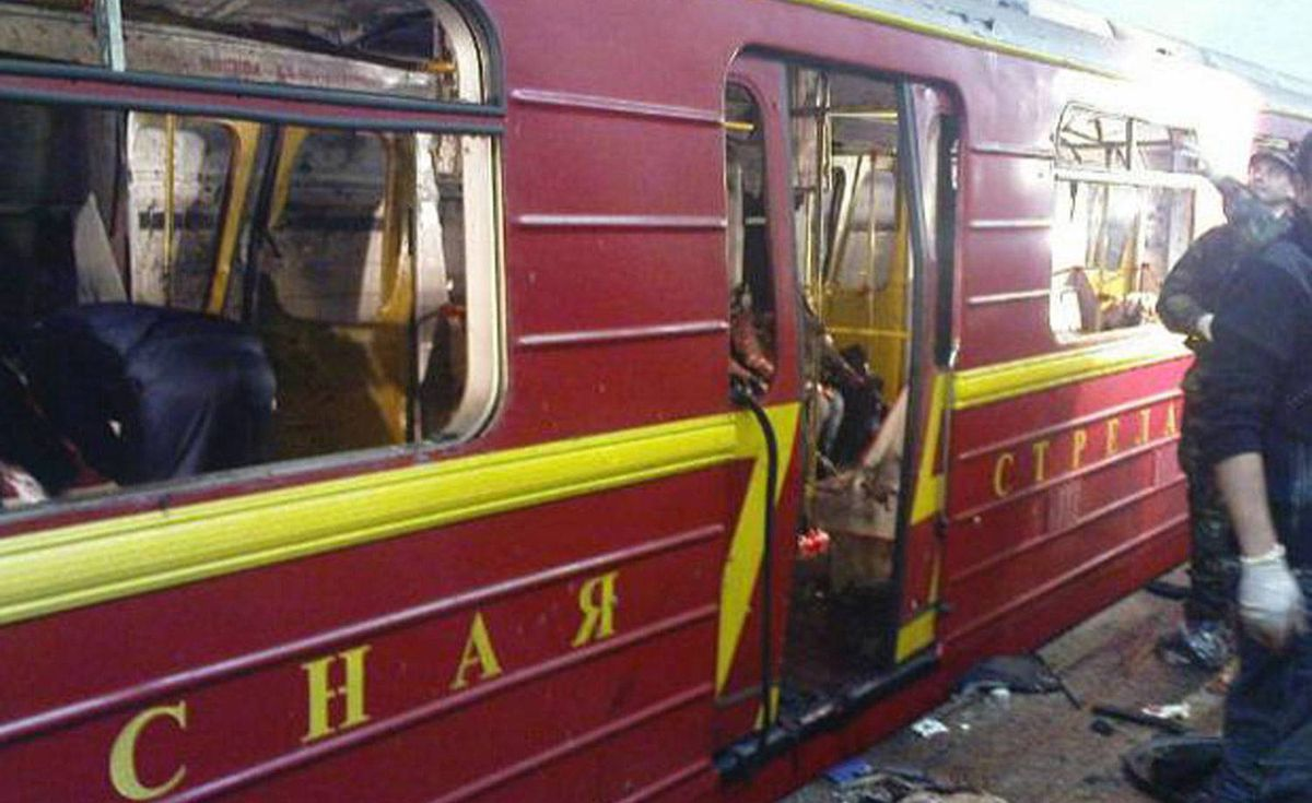 An image from Lifenews.ru shows a damaged coach after a bomb explosion at Lubyanka metro station in Moscow.