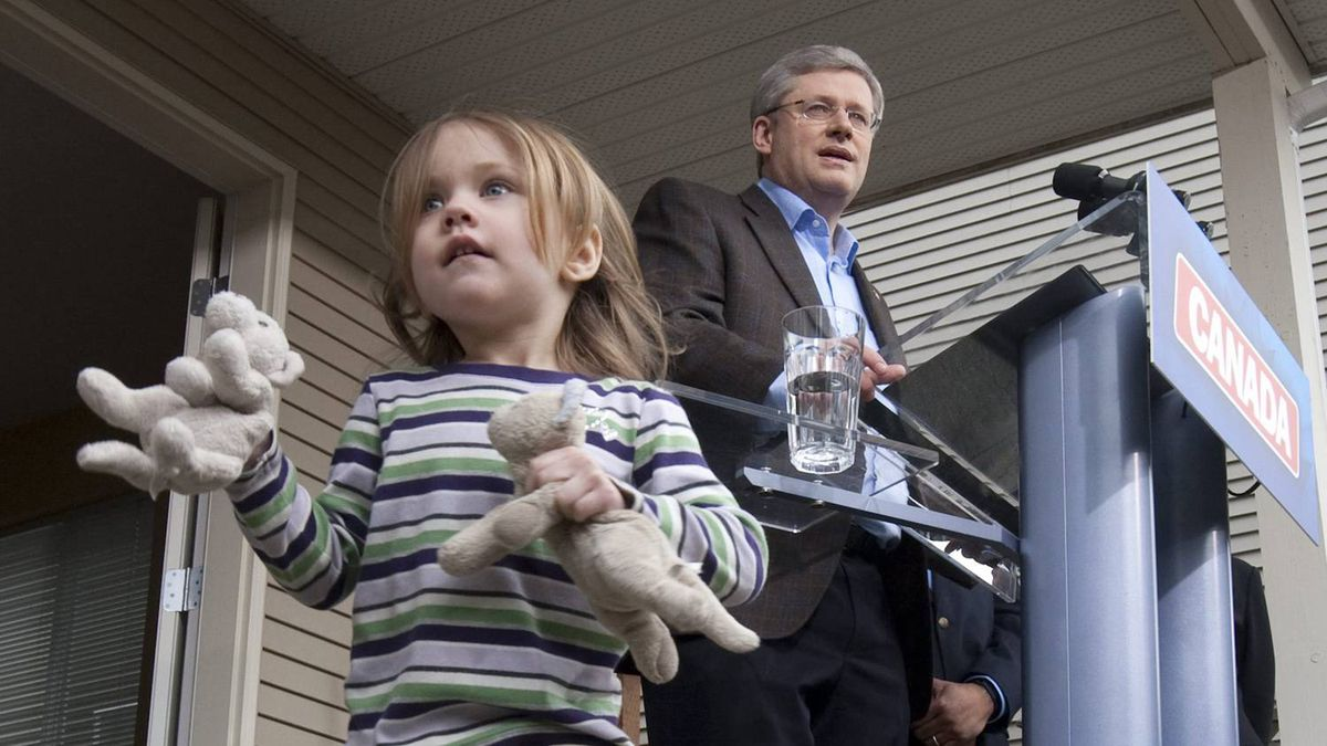 """Stephen Harper made a bid for the middle class vote with a $2.5-billion tax break pledge aimed at parents of children under 18. The Conservative Leader unveiled his """"Family Tax Cut"""" pledge in the Victoria-area riding of Esquimalt-Juan de Fuca Monday morning. The measure would allow parents to split, or share, up to $50,000 of their household income for tax purposes. But there's a huge catch to this: It wouldn't take effect until the deficit is eliminated – a date that could be four years in the future."""