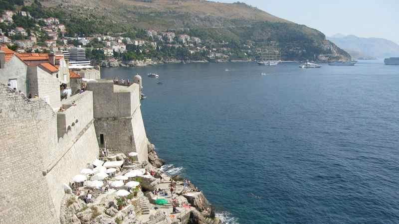 A view from the wall surrounding the medieval Croation city Dubrovnik