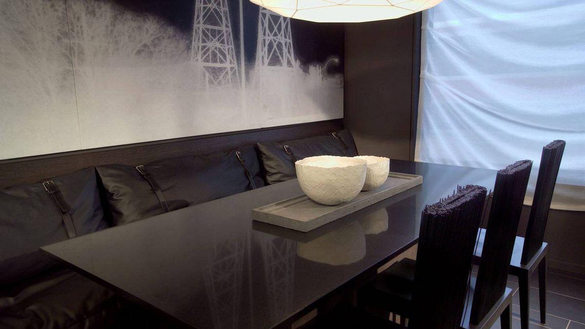 Block, model interior. Dining room.