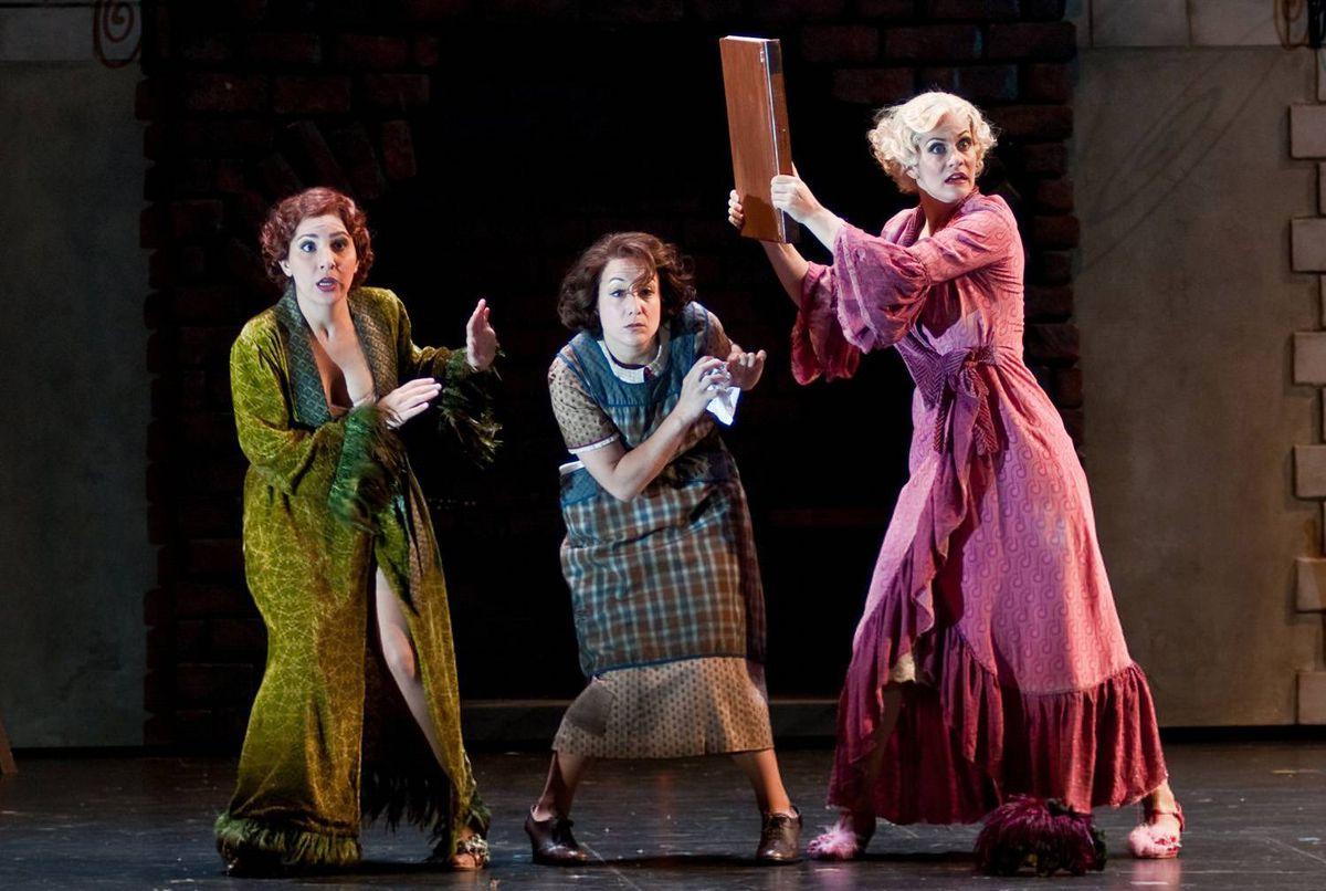 Karin Mushegain as Tisbe, Julie Boulianne as Angelina and Jamilyn Manning-White as Clorinda in Glimmerglass Opera's 2009 production of Rossini's La Cenerentola.