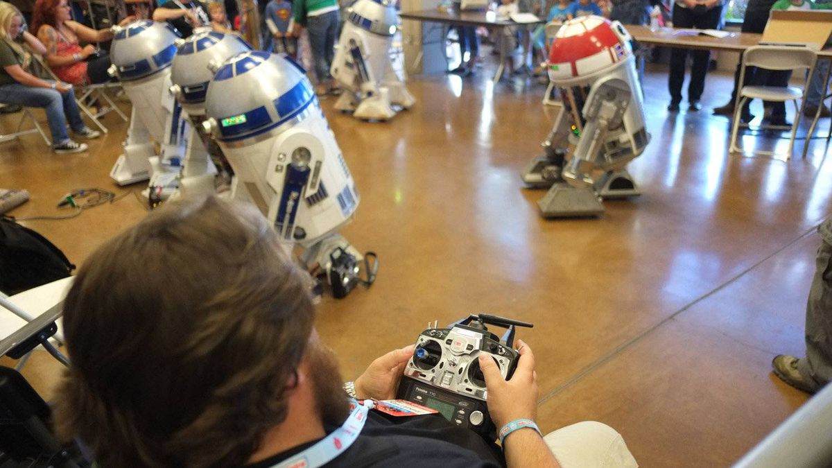The astromech droids are controlled remotely, and some even boast speakers to replicate the bleeps and bloops of the Star Wars movies.