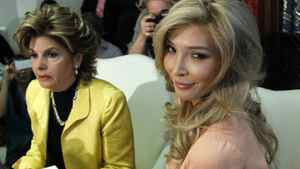 """Jenna Talackova, right, who advanced to the finals of the Miss Canada competition, part of the Miss Universe contest, and was recently forced out of the competition, appears with her attorney Gloria Allred at a news conference in Los Angeles Tuesday, April 3, 2012. Talackova says she was forced out of the competition because Pageant officials alleged she was not """"a naturally-born female."""""""