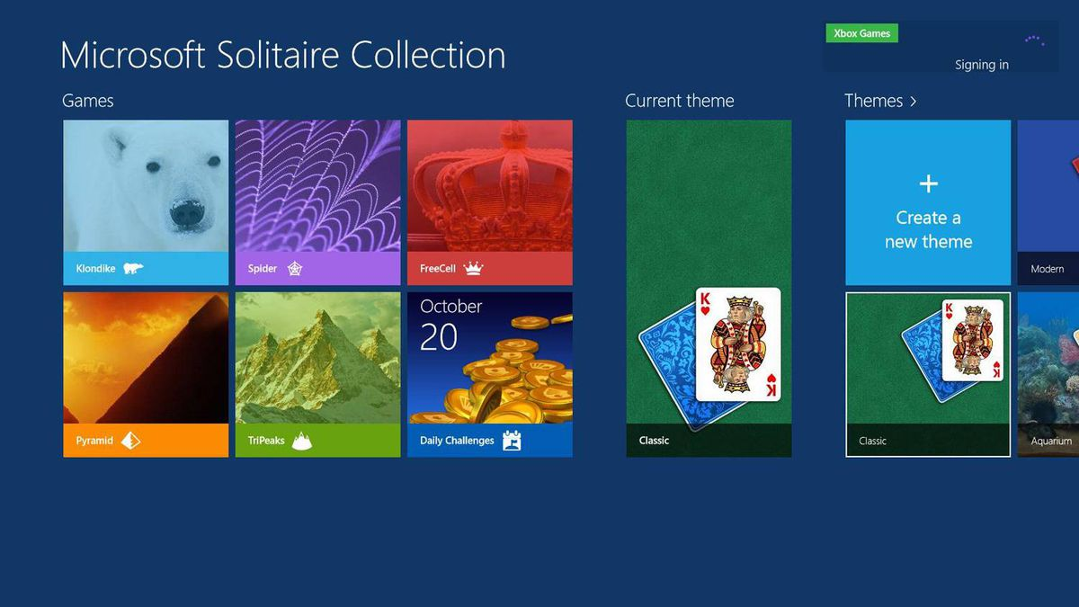 All Windows 8 apps run full-screen. Any menus are accessed by right-clicking or swiping up from the bottom of the screen. And yes, there's Solitaire.