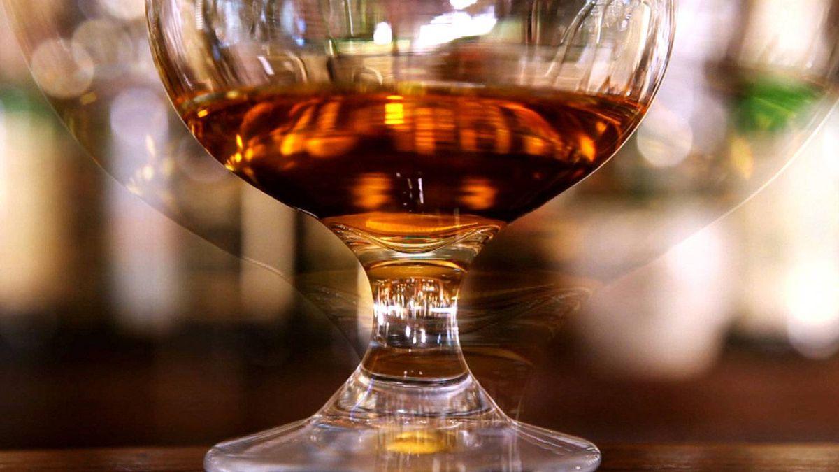 Irish whisky in glass.