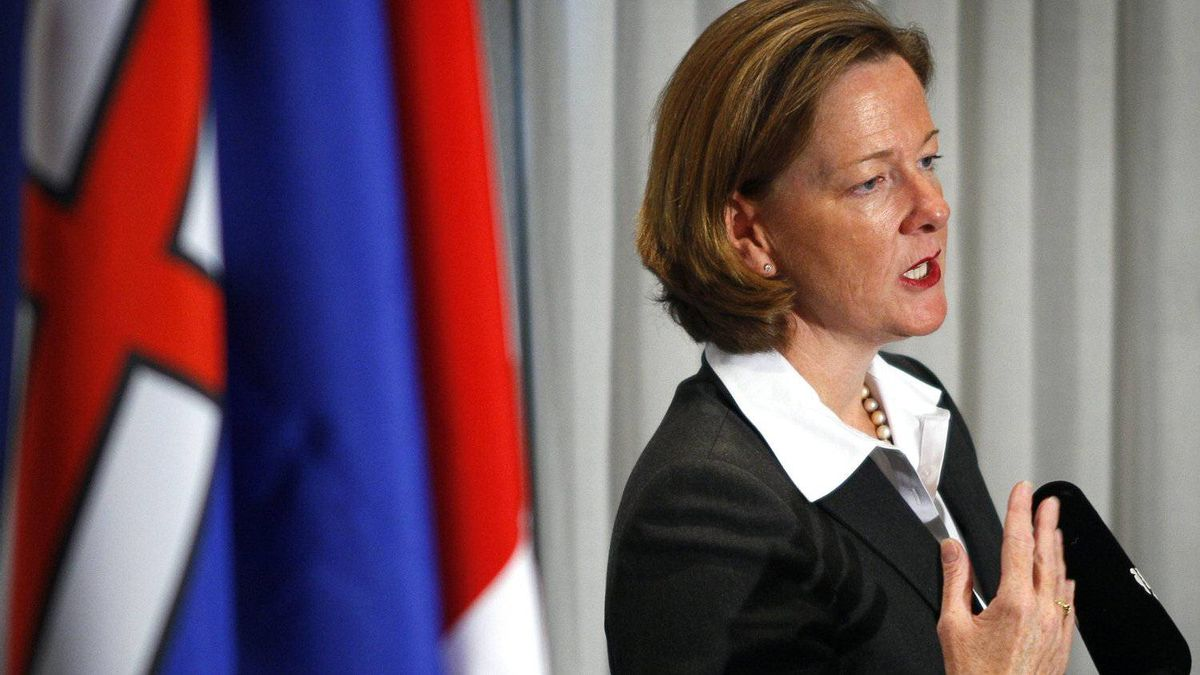 Newly-elected Alberta PC Leader and premier-designate Alison Redford holds a news conference in Edmonton on Oct. 2, 2011.