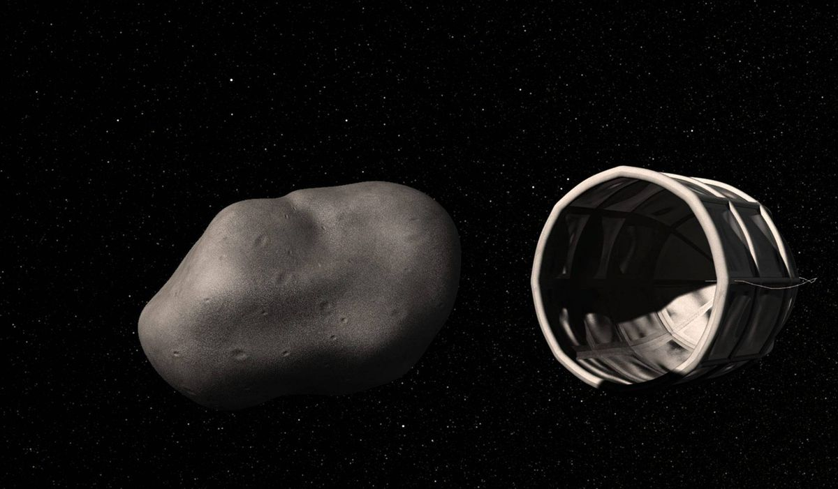 This computer-generated image provided by Planetary Resources, a group of high-tech tycoons that wants to mine nearby asteroids, shows a conceptual rendering of a spacecraft preparing to capture a water-rich, near-Earth asteroid. One of the company founders predicts they could have their version of a space-based gas station up and running by 2020.