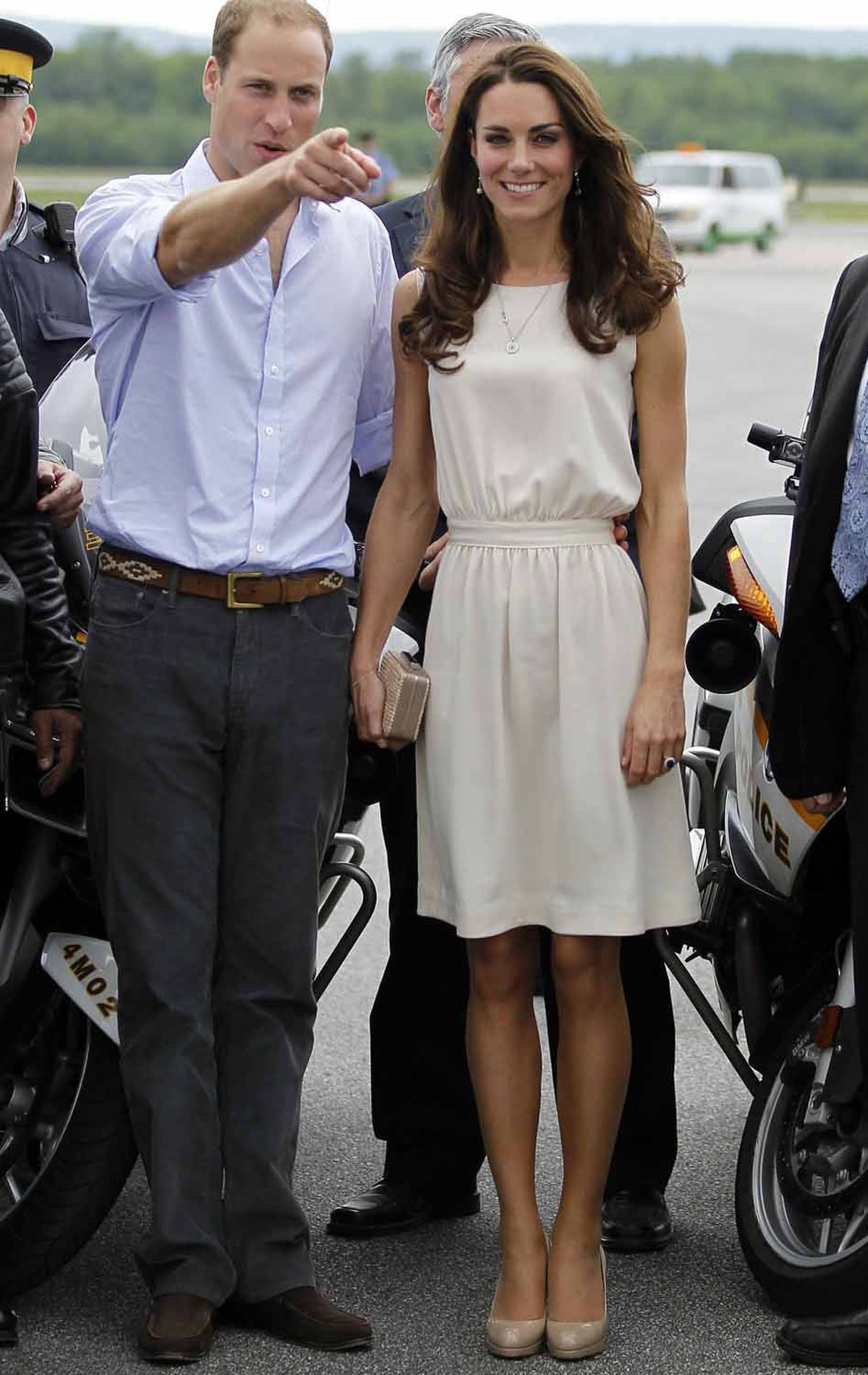 The Duchess leaves Quebec on July 3 in a blousy cream dress by Joseph, a British label.
