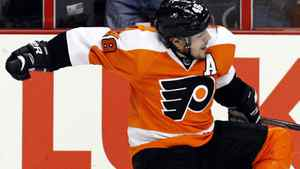 Philadelphia Flyers centre Danny Briere (48) reacts after his goal in the second period of Game 1 against the New Jersey Devils in a second-round NHL Stanley Cup hockey playoff series, Sunday, April 29, 2012, in Philadelphia. (AP Photo/Alex Brandon)