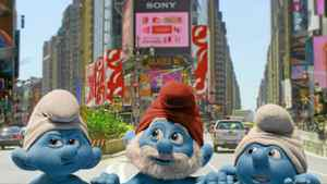 "Grouchy, Papa and Clumsy Smurf in a scene from ""The Smurfs"""