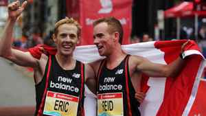 Canadians Reid Coolsaet, right, and Eric Gillis, left, who placed fourth celebrate at finish line at the Scotiabank Toronto Waterfront Marathon on October 16, 201. The two finished under the qualification time and are now headed to the 2012 Summer Olympic Games. Kenya's Kenneth Mungara won the race for the fourth straight year. (Michelle Siu for Globe and Mail)