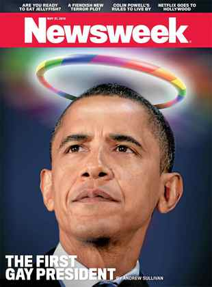 Newsweek's cover features Barack Obaman with a rainbow halo.