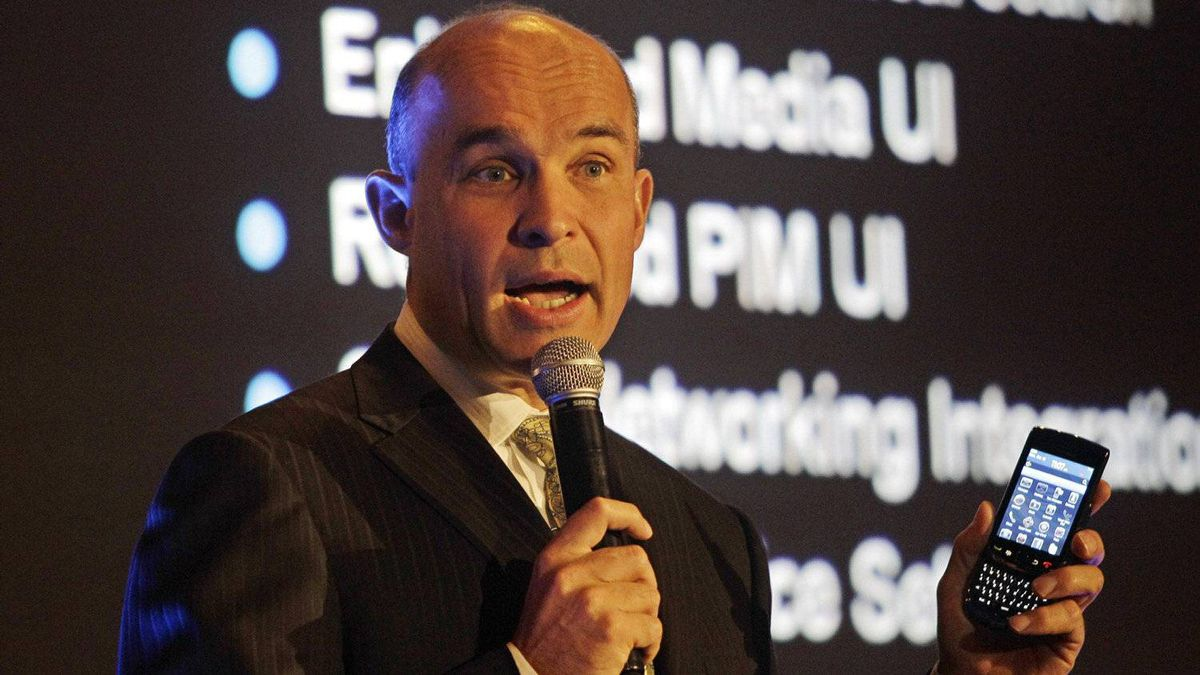 It's hard to imagine RIM without Jim Balsillie, who has just stepped down as co-CEO. In many ways, he became the face of the company, typically leading quarterly conference calls with analysts and popping up in exotic locations, like here at the GITEX exhibition in Dubai in this 2010 file photo, to tout the latest RIM innovation.