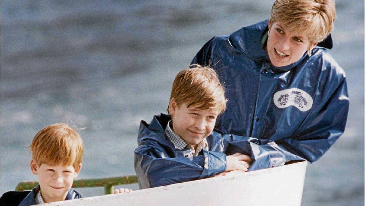 Diana, Princess of Wales, enjoys a ride on the Maid of Mist in Niagara Falls, Ont., in this Oct., 1991, file photo, with her sons Prince Harry, then 7, and Prince William, then 9.