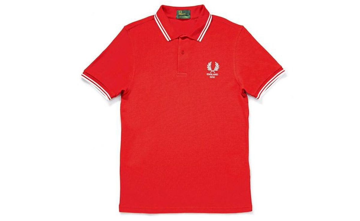 Full English: England fans can be a raucous bunch, so it behooves British heritage label Fred Perry to bring a little calm elegance to the field. The brand's revamped pique polo gives a nod to nations such as Denmark, France and Spain, but the version dedicated to Blighty (shown here) takes the biscuit. $115 through www.fredperry.com.