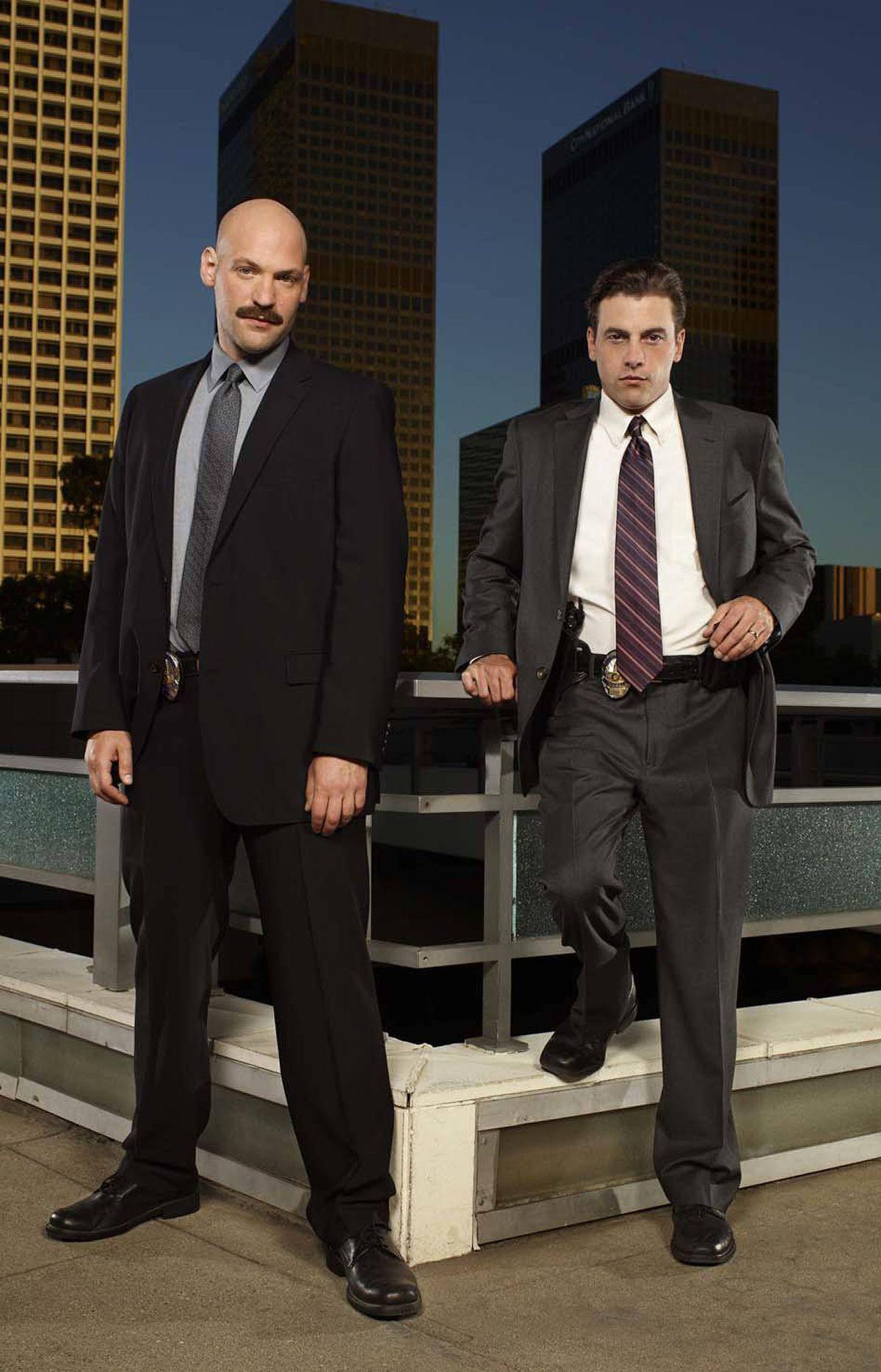 "LAW & ORDER: LOS ANGELES -- Season: 1 -- Pictured: (l-r) Corey Stoll as Detective Tomas ""TJ"" Jaruszalski, Skeet Ulrich as Detective Rex Winters -- Photo by: Florian Schneider/NBC"