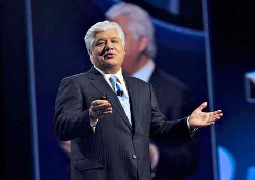 Reseach In Motion Co-CEO Mike Lazaridis, addresses the audience during the Blackberry World conference in Orlando, Fla., on Tuesday, May 3.