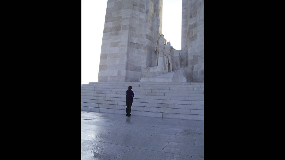 John Beatty photo: My Sister Liz at Vimy Memorial - This is a picture of my sister that I took last year at Vimy. We went for Remembrance Day Ceremonies. It is not posed, I just snapped it of her.